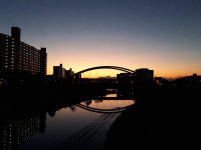 釣具屋の帰りの夕景
