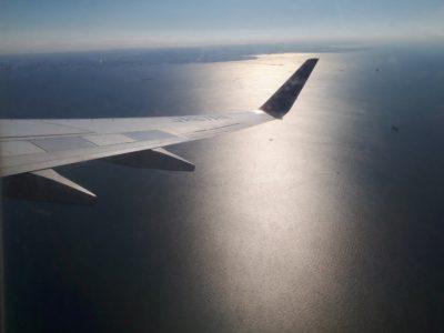 帰りの飛行機の窓からの景色
